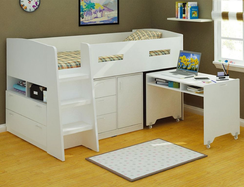 lm001 single king single bunk set kids bedroom furniture in white - Garden Furniture King