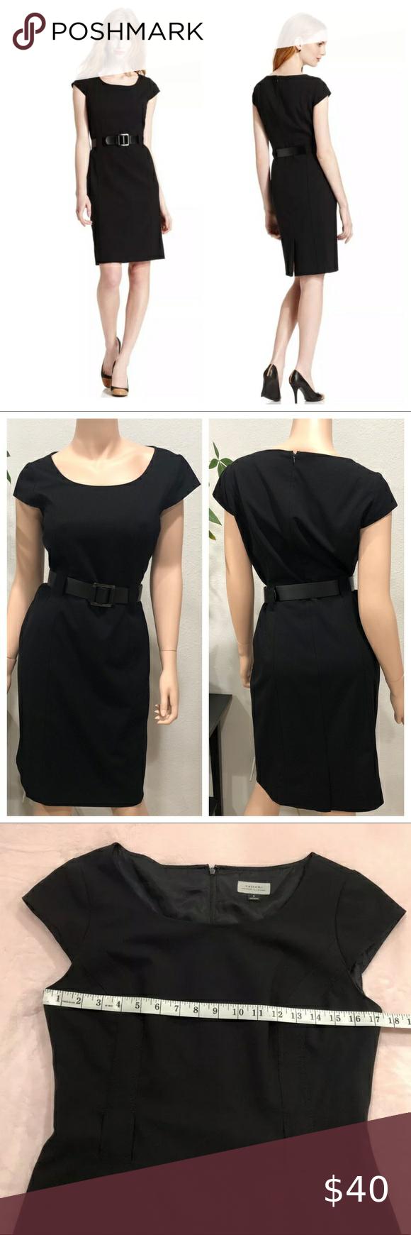 Tahari Asl Cap Sleeve Belted Sheath Dress Size 8 Black Sheath Dress Sheath Dress Tahari Dress [ 1740 x 580 Pixel ]