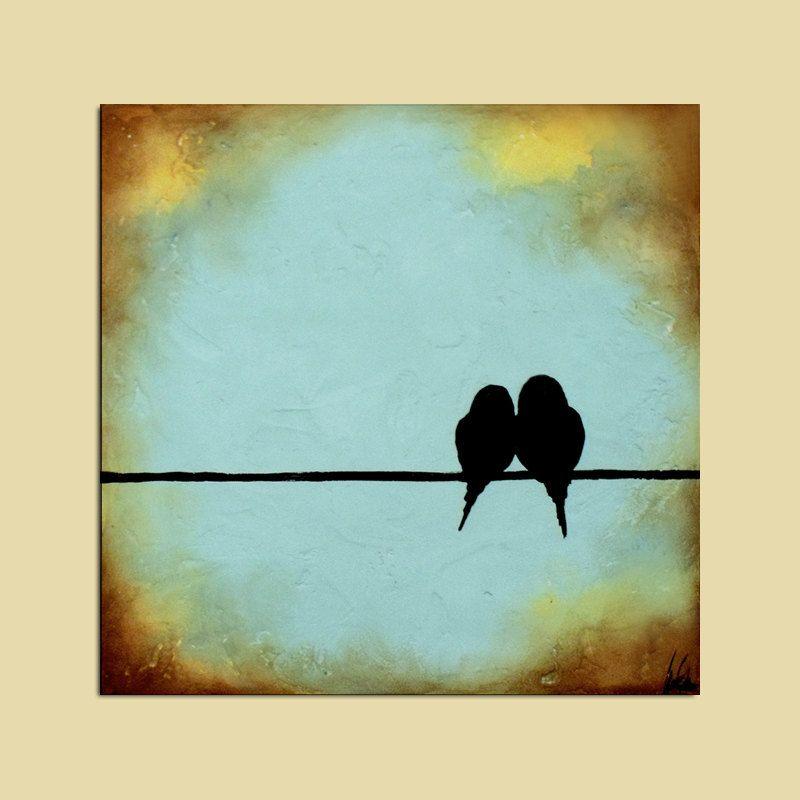 Original Birds on a Wire Painting...12 x 12...Signature Art | Bird ...