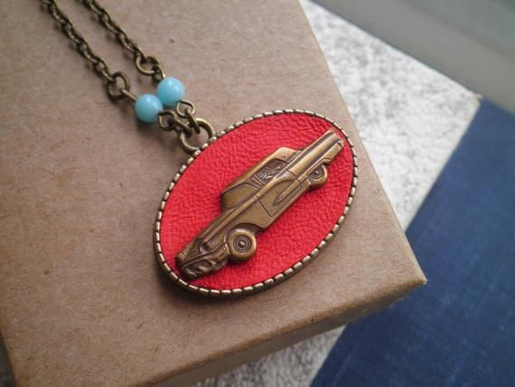 Classic Car Assemblage Necklace – Retro Red Leather Pendant – Vintage Car Love Upcycled Pin & Fabric Jewelry – Antique Car Lover Gift