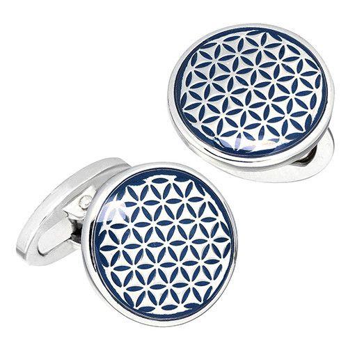 Blue Button Grid English Enamel Cufflinks