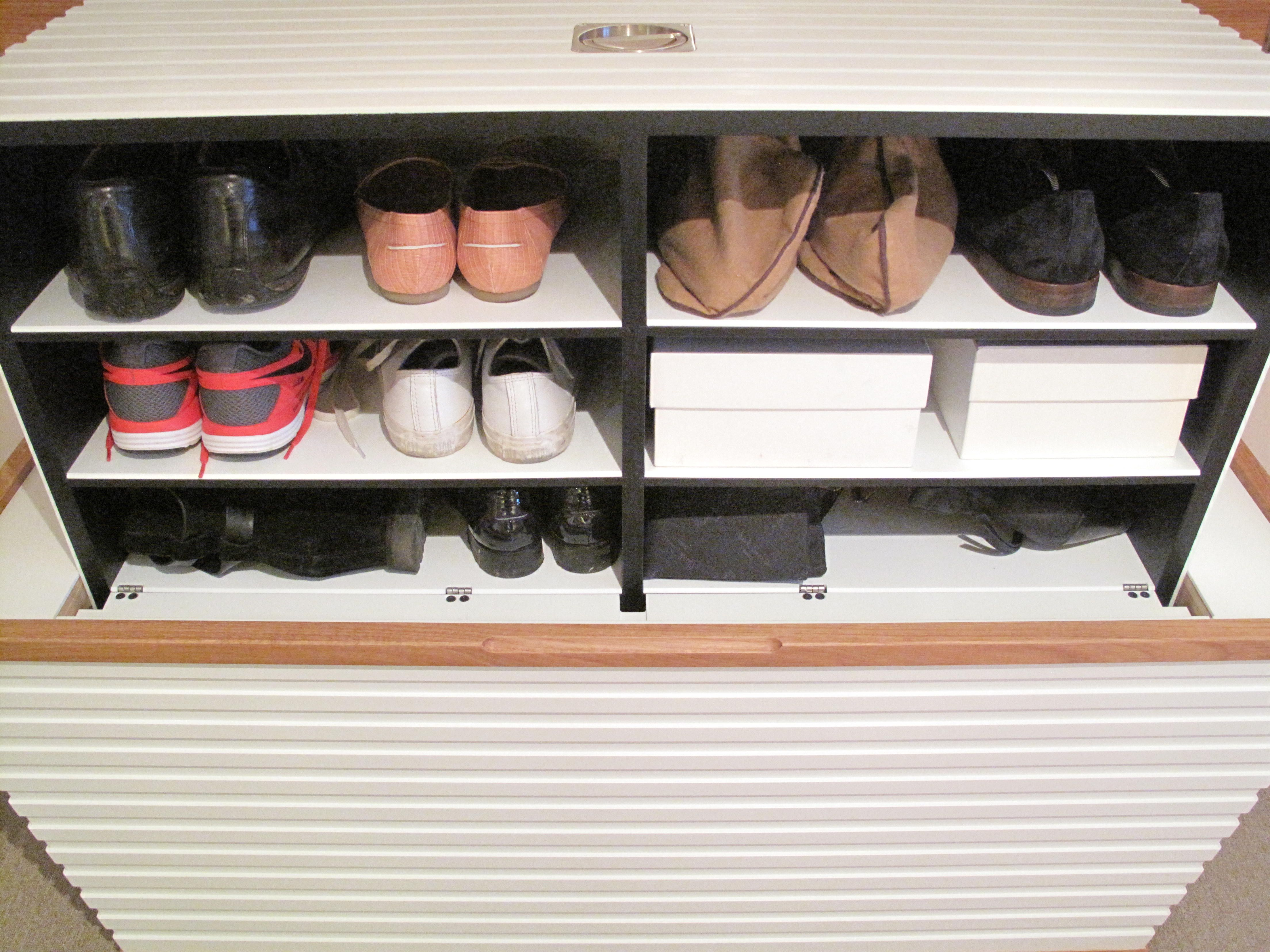 Front View Of Shoebox With Shoe Storage In Open Position