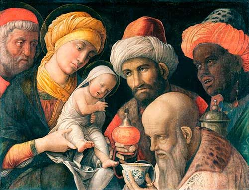 EPIFANÍA: Adoración de los Reyes Magos, [Andrea Mantegna 1460]