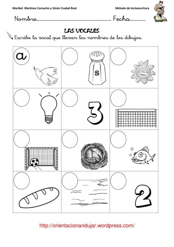 vocales ficha lectoescritura educaci n infantil 0 a 6 a os pinterest spanish speech. Black Bedroom Furniture Sets. Home Design Ideas