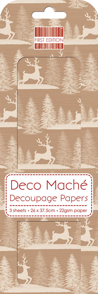 DECO MACHE PAPER FIRST EDITION RED STAG 3 SHEETS OF DECOUPAGE