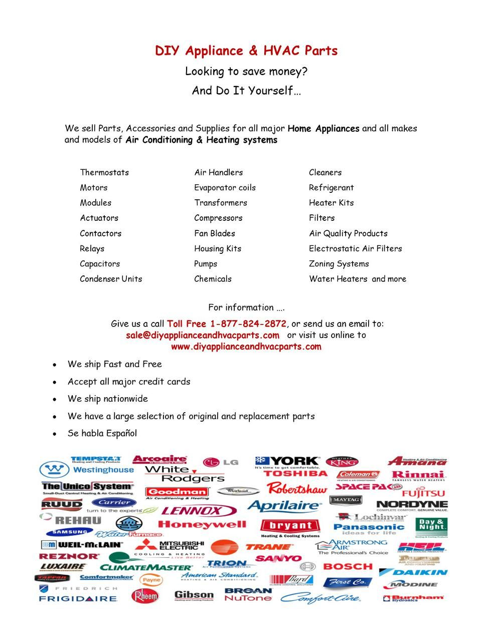 Air Conditioning Heating Parts Accessories And Suppies
