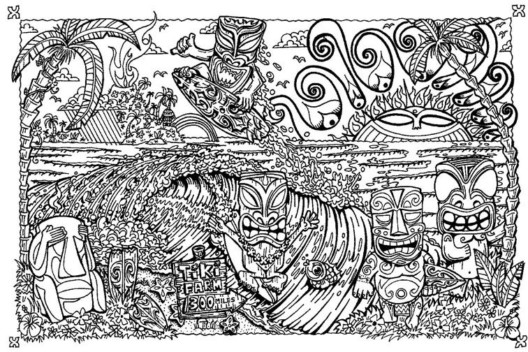 tiki coloring pages - Tiki Coloring Pages