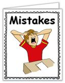 """Some students are afraid to make a mistake on their schoolwork. Print this little (3 1/2"""" x 4 1/4"""") to help these students see there are ways to overcome this. Includes posters, coloring sheets, & desk-top cards. https://www.teacherspayteachers.com/Product/Social-Story-Mistakes-1740106    ------SHARE IT -- PIN IT!"""