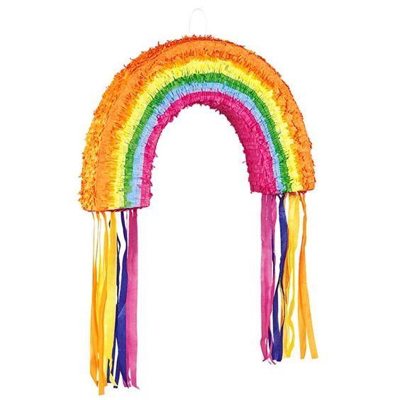 Regenbogen-Pinata bunte Bänder zum Zerschlagen für Kindergeburtstag//Kinderfest