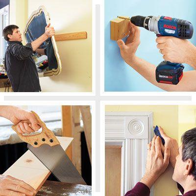 Em vez de pendurar o espelho na parede, pendure numa ripa