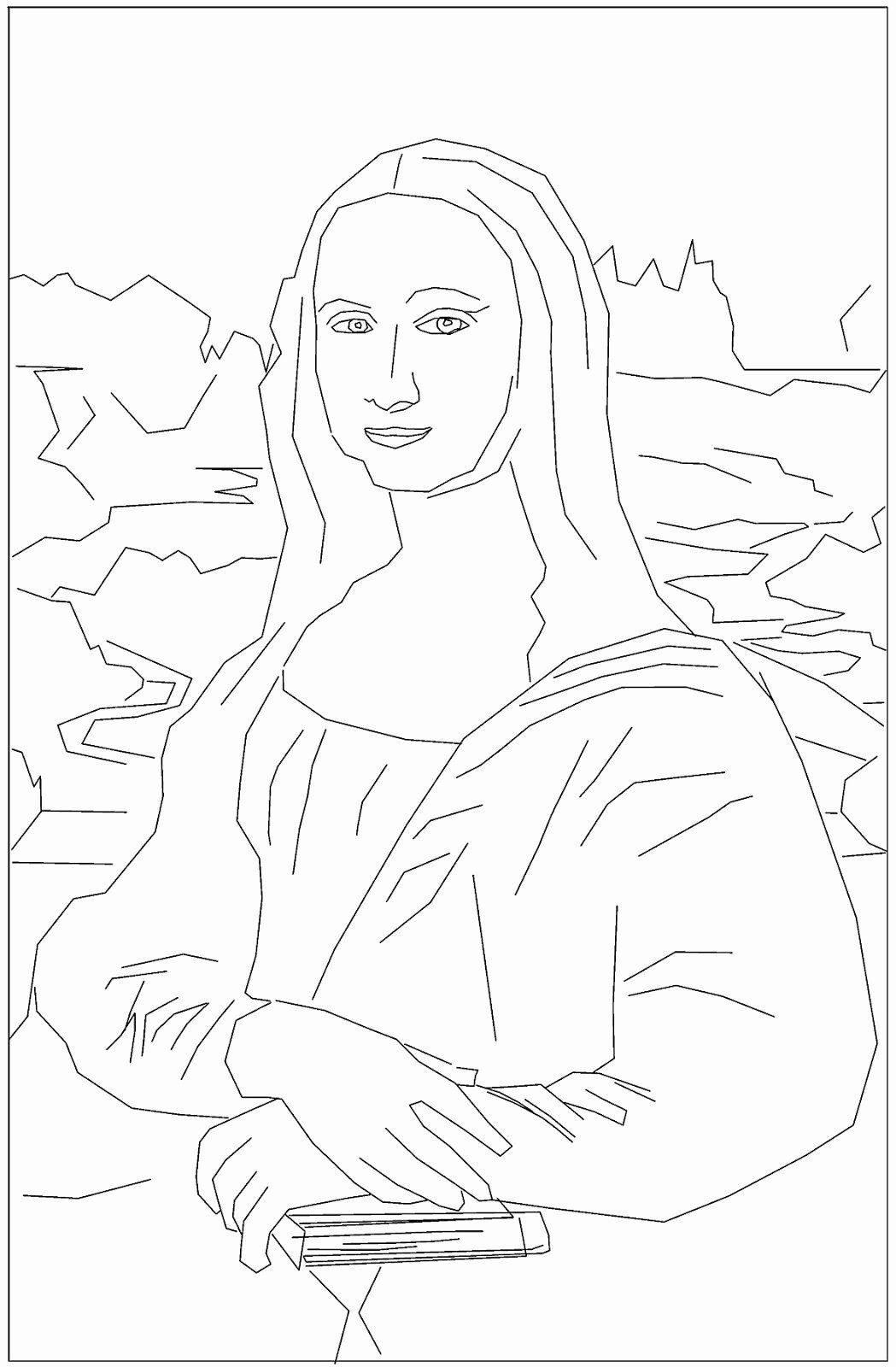 Mona Lisa Coloring Page Lovely Mona Lisa In