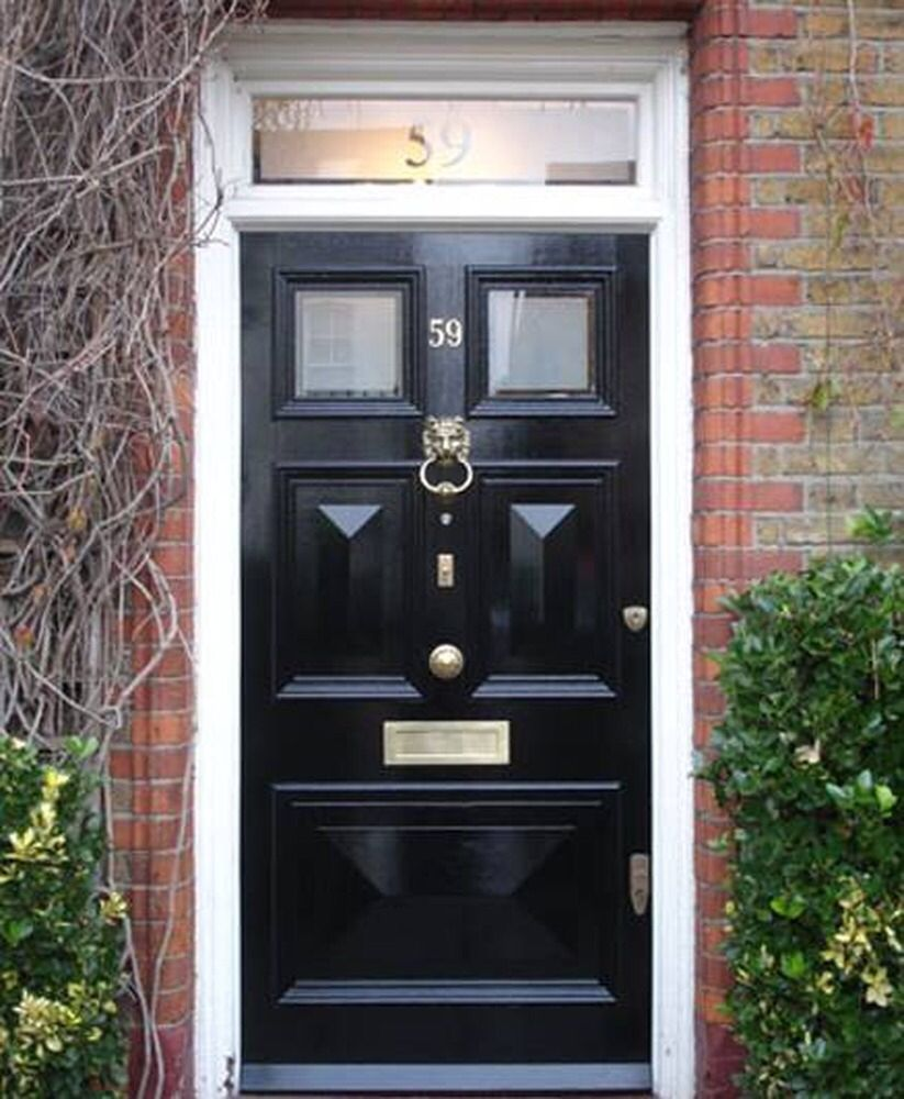 Black Front Door Glass Number Window Frosted Glass Black Doors