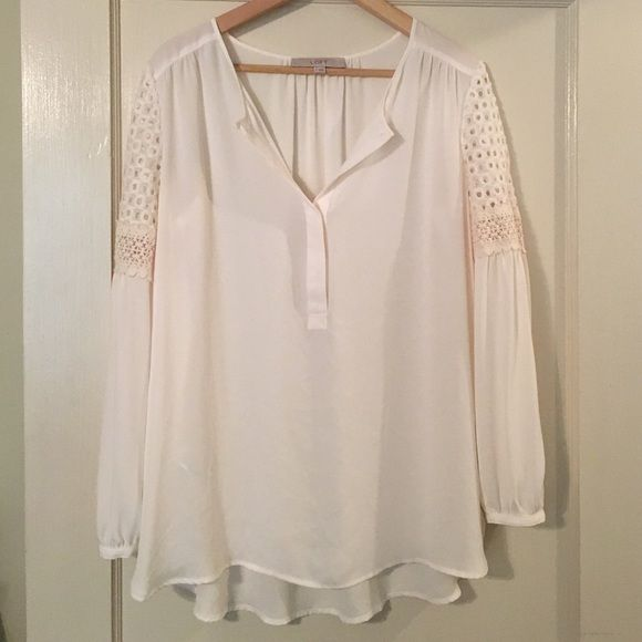 LOFT peasant blouse LOFT peasant blouse. Off-white with detail at the arms. 100% polyester. Machine washable. Brand new without tags. LOFT Tops Blouses