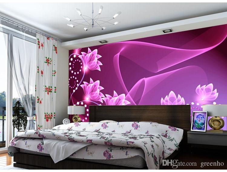 Best Fashion Wall Mural Purple Flowers Photo Wallpaper Dazzles Large Wallpaper Art Decoration Bedro 400 x 300