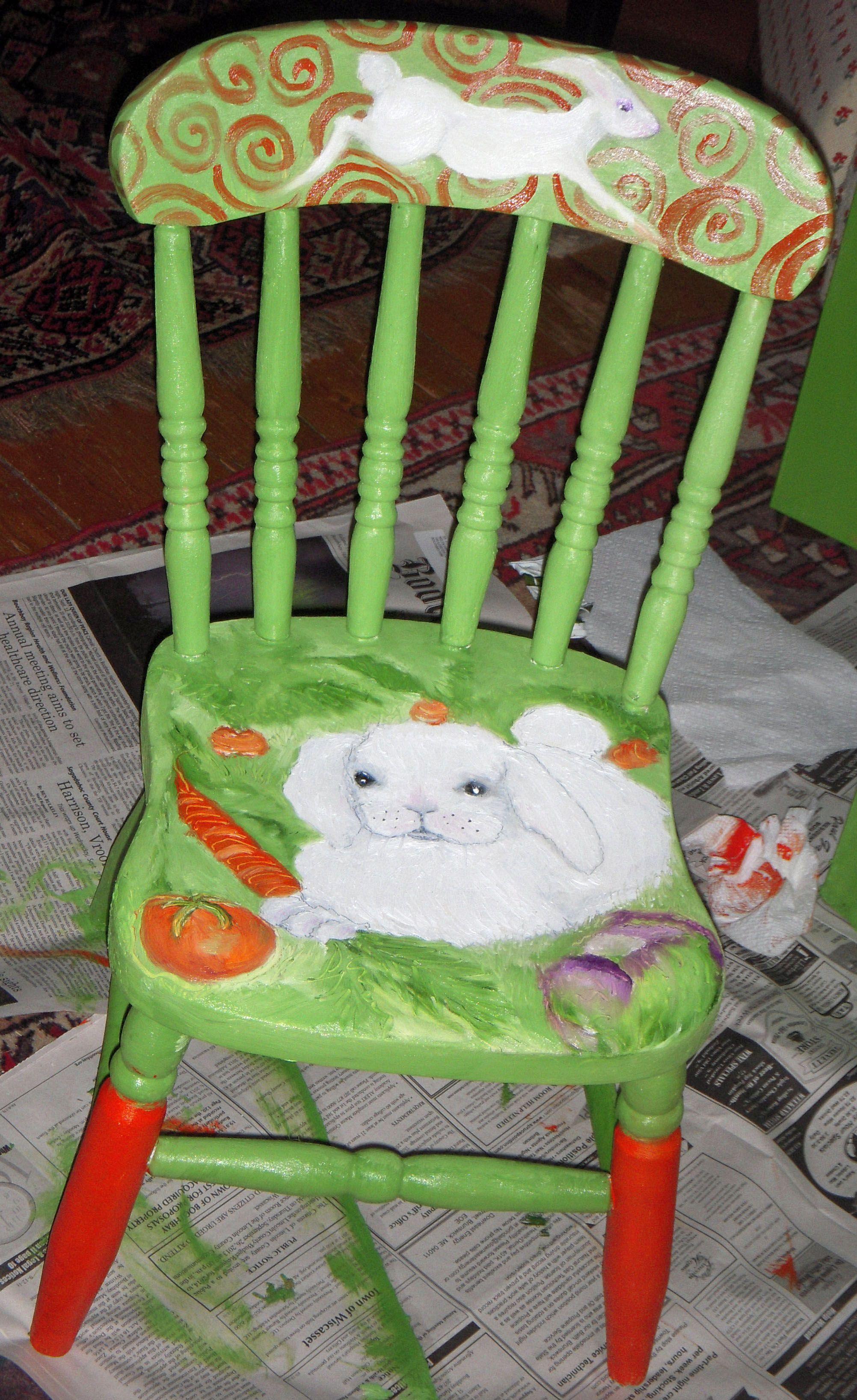 Ideas for hand painted chairs - Rabbit In The Garden Children S Handpainted Chair Helen Farnham Designs