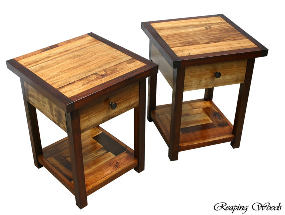 Beautiful Two Tone Reclaimed Antique Barn Wood Red Cedar And Early American Stain End Tables Book