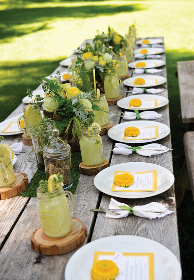 Country wedding table settings outdoor table setting for Patio table centerpiece