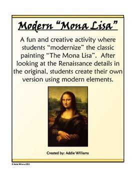 Renaissance Activity Create A Modern Mona Lisa Renaissance Art Homeschool Art Montessori Art