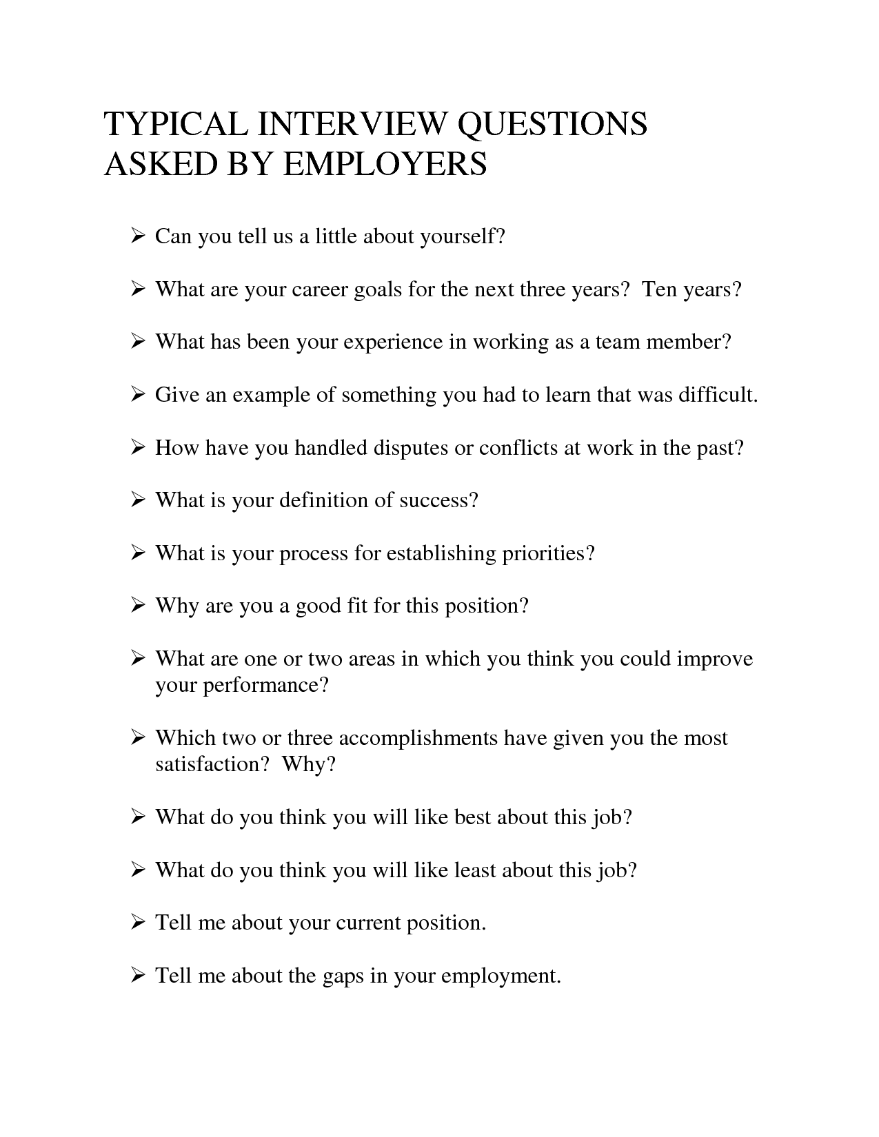 Here Some Questions You May Encounter In A Job Interview