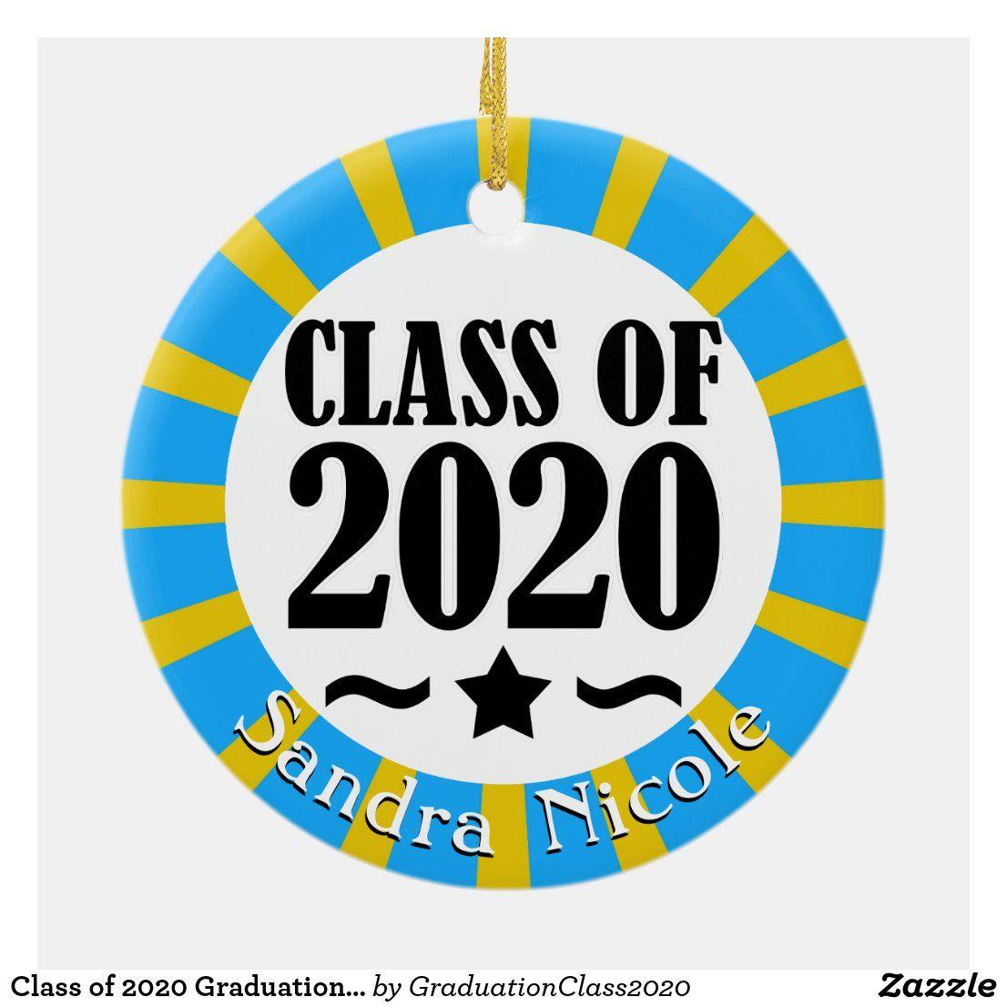 Class of 2020 Graduation Cap School Colors Ceramic