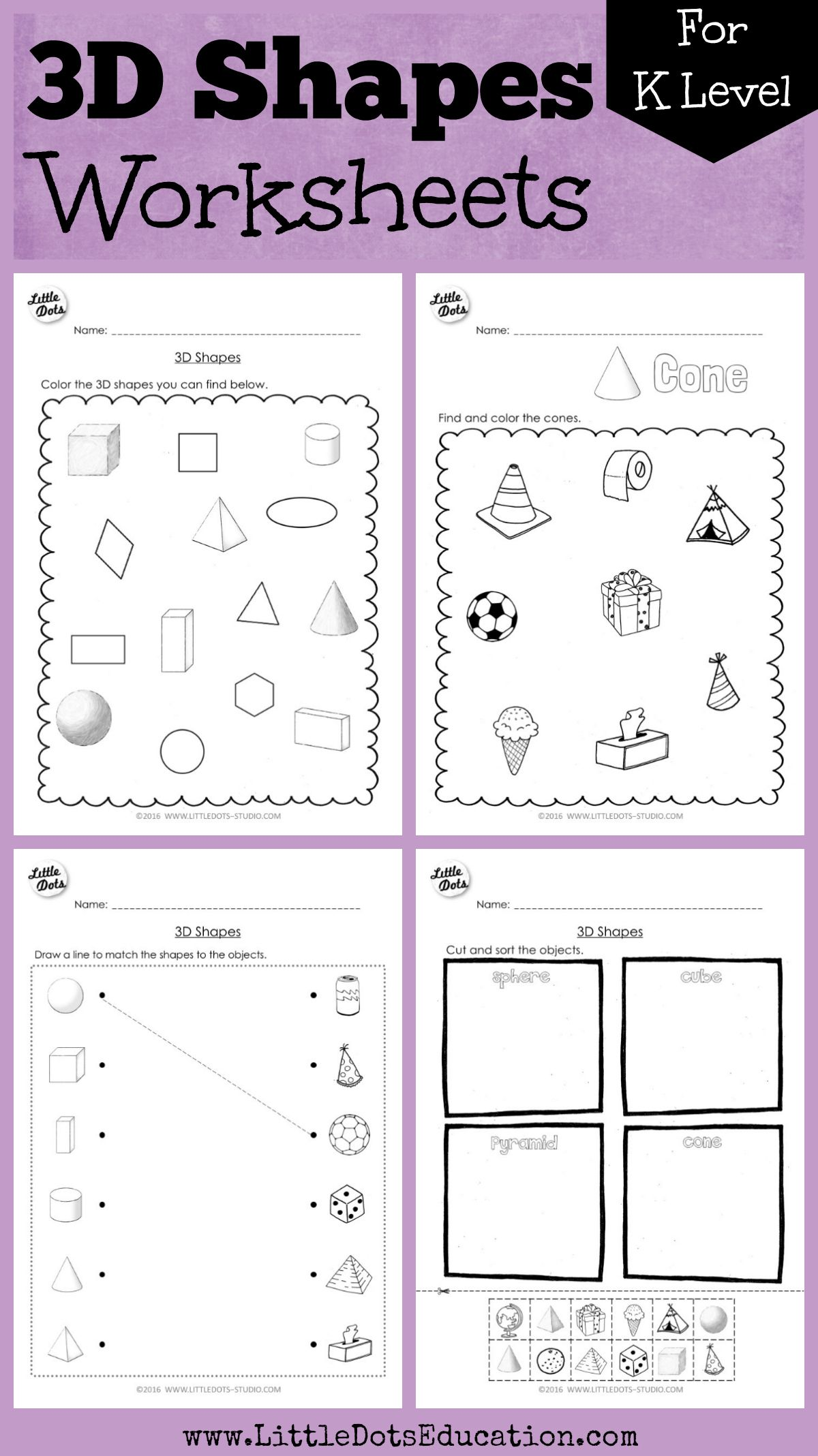 Download 3D or solid shapes worksheets and activities on cube, cylinder,  cone, pyramid