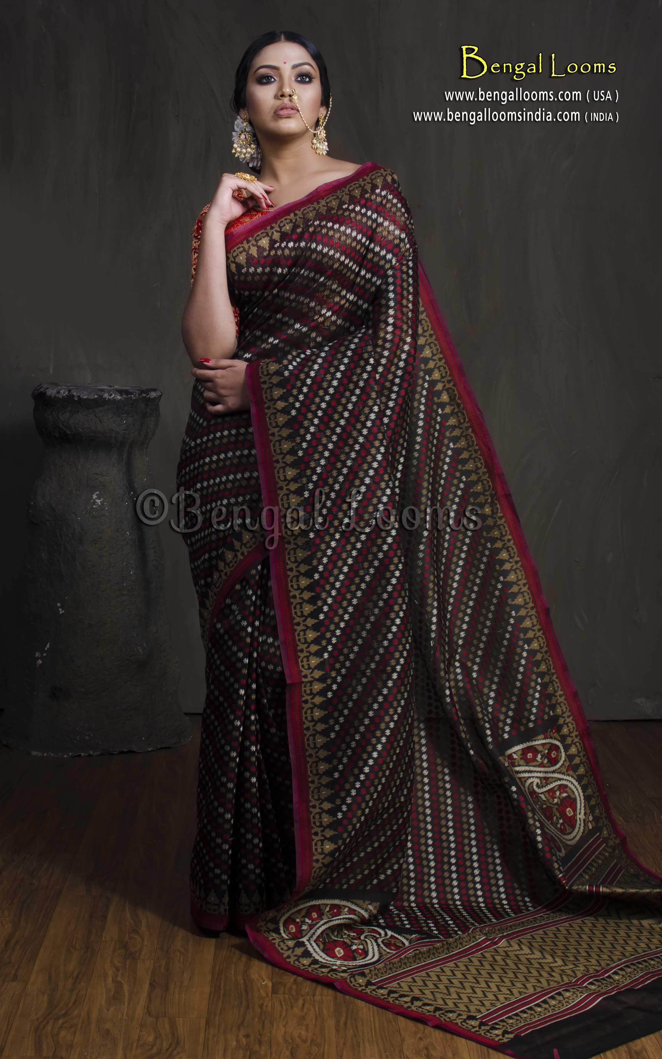 2981b600d6f6c Kora Cotton Silk Hazar Buti Banarasi Saree in Black