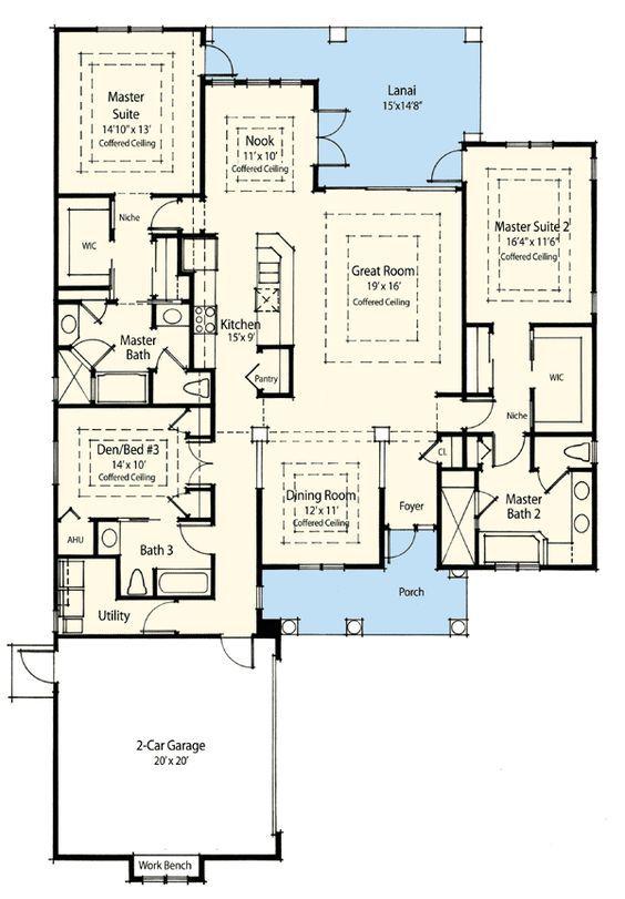 Plan 33094zr Dual Master Suite Energy Saver Master Suite Floor Plan Bedroom House Plans House Plans