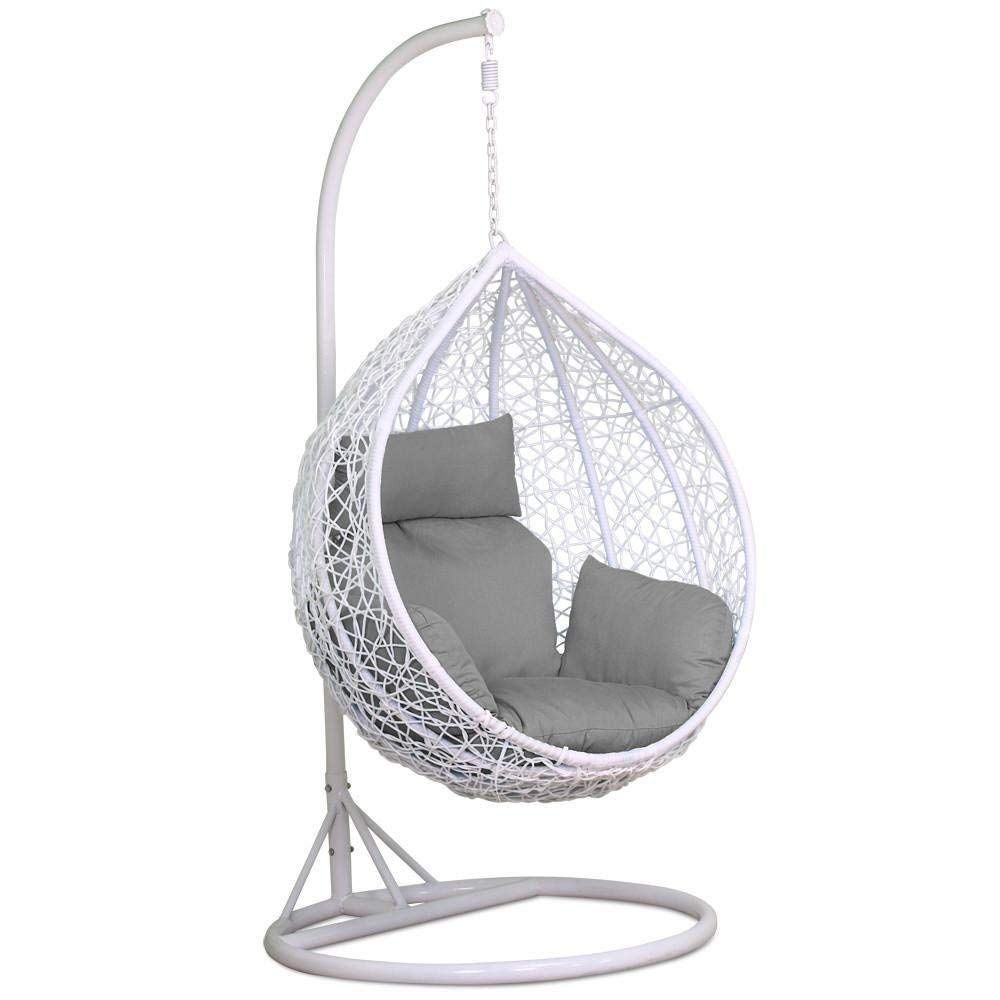 Yaheetech White Rattan Hanging Swing, Outdoor Swing Chair With Stand Uk