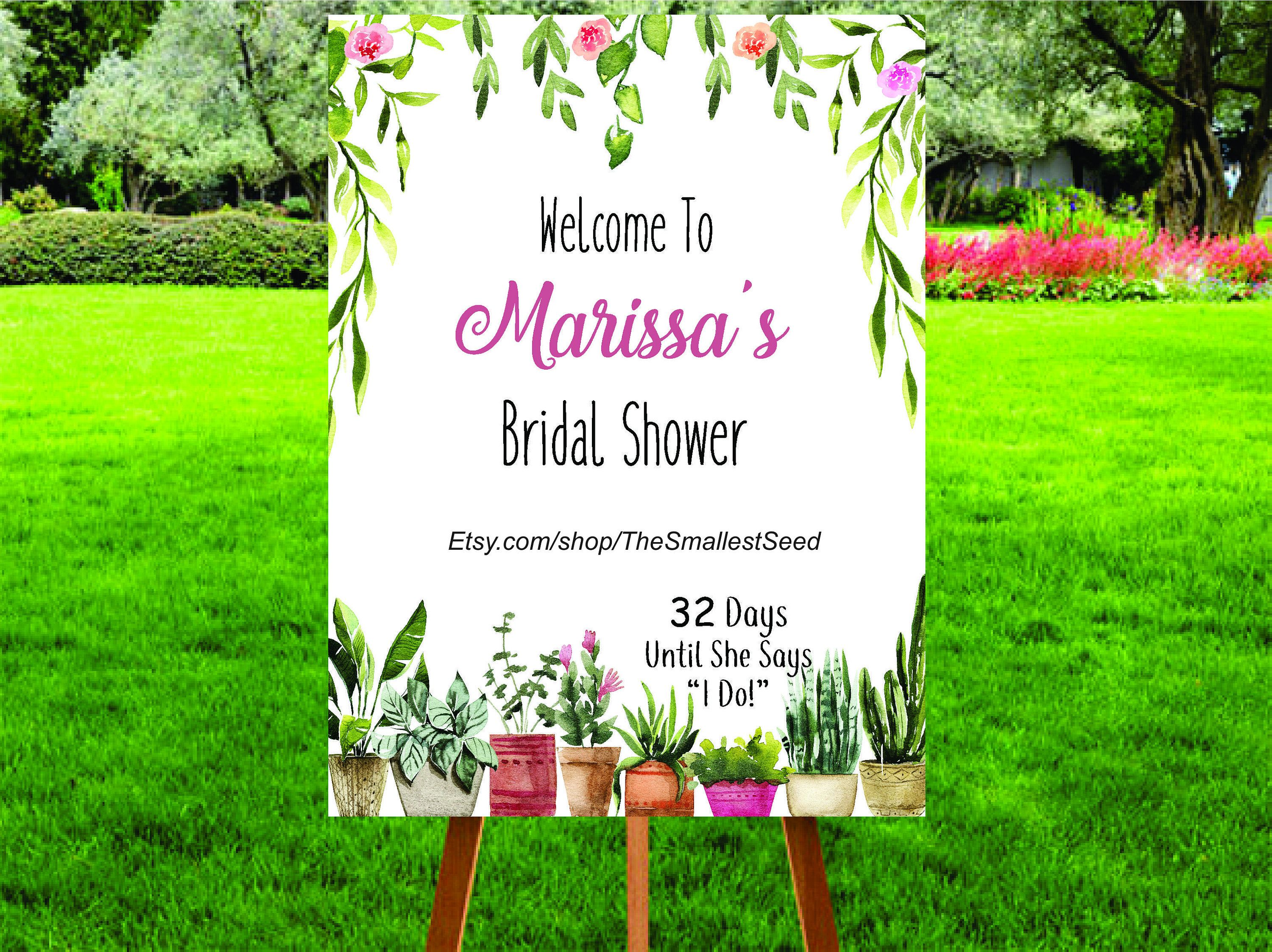 Bridal Shower Printable Welcome Sign Countdown To Wedding Sign Garden Party Potted Plants Bridal Shower Wedding Signs Bridal