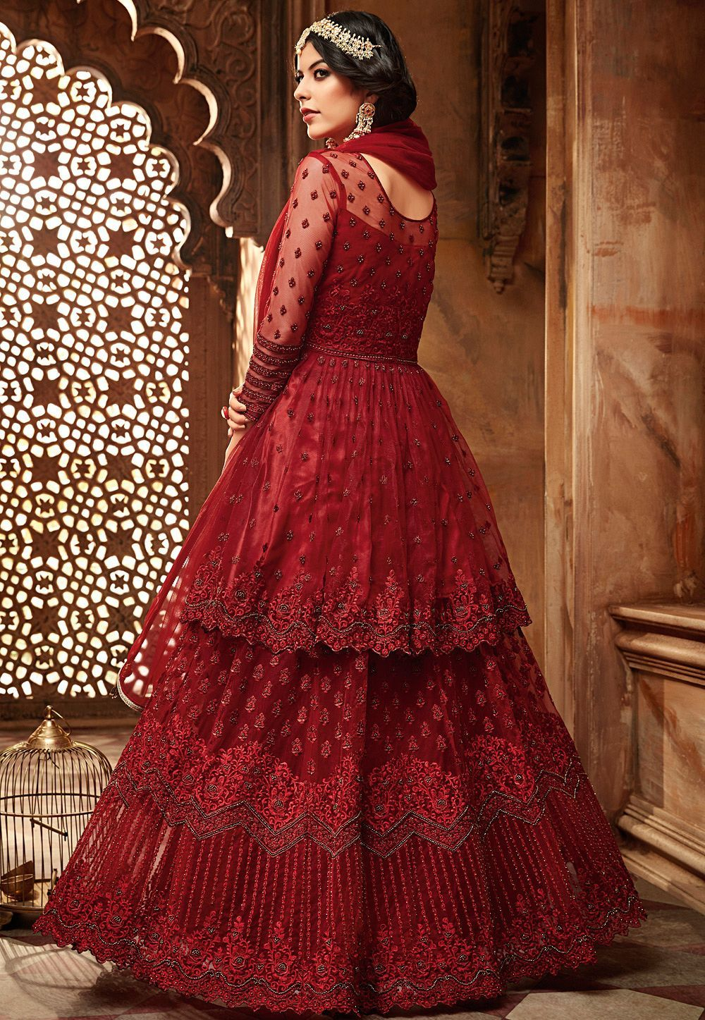 adf948dd40 Buy maroon net embroidered lehenga style anarkali suit 60001 online in USA,  UK and Canada from KollyBollyEthnnics.com