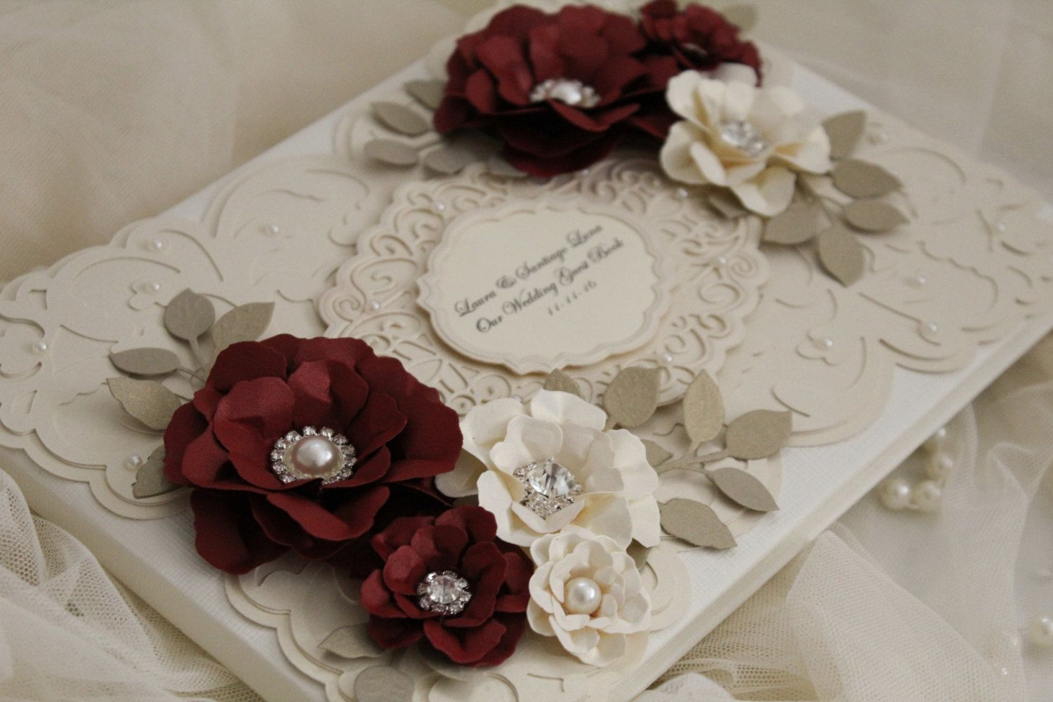 Wedding decorations red  Red and gold guest book personalised wedding guestbook  red
