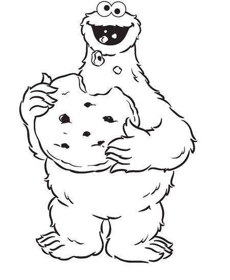 monster cookie and big cookies coloring pages cookie monster cartoon coloring pages - Cookie Monster Coloring Pages