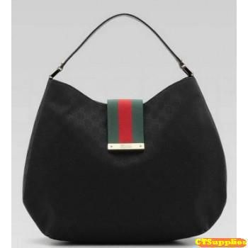 17459716 Gucci Fabric Ladies Web Large Hobo Handbag 211933 Black black gg fabric  with green/red/green web, black leather trim light gold hardware single ...
