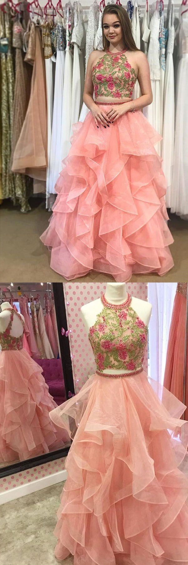 Outlet nice prom dresses two piece round neck tiered pink open