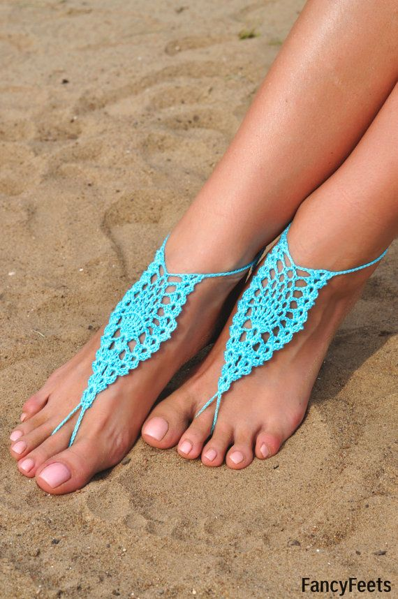 Crochet Aqua Barefoot Sandals, Foot jewelry, Bridesmaid gift ...