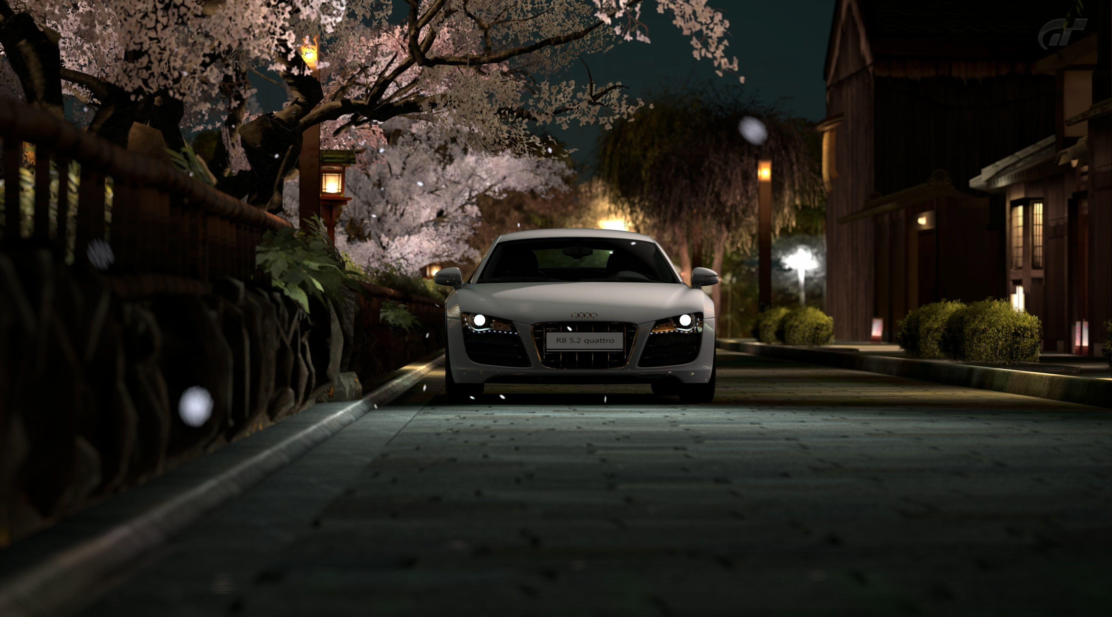 R8 In Japan Gt5 White Car Games Gran Turismo Spring Audi Japan Video Game Audi R8 Gt5 Gran Turismo 5 Sakura 4k Wallpaper Hd Wallpaper Pc Audi R8 Audi