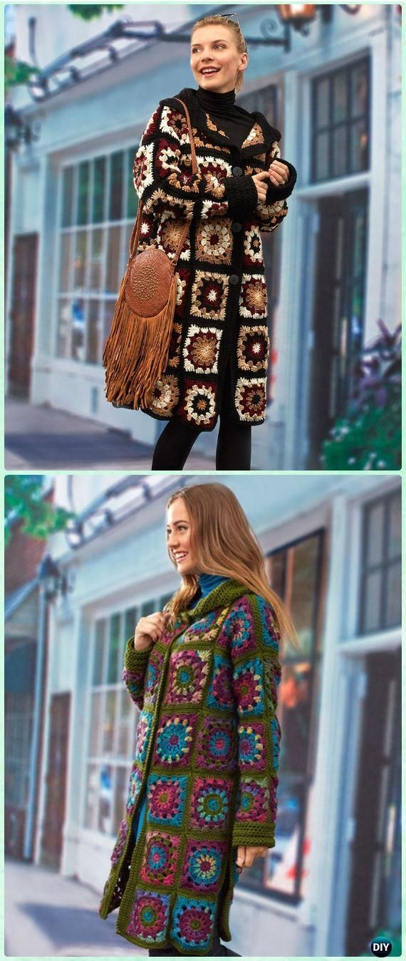 Crochet Sweater Coatigan Kostenlose Anleitungen - Crochet Granny Square Jacket Coat ...  #grannysquares
