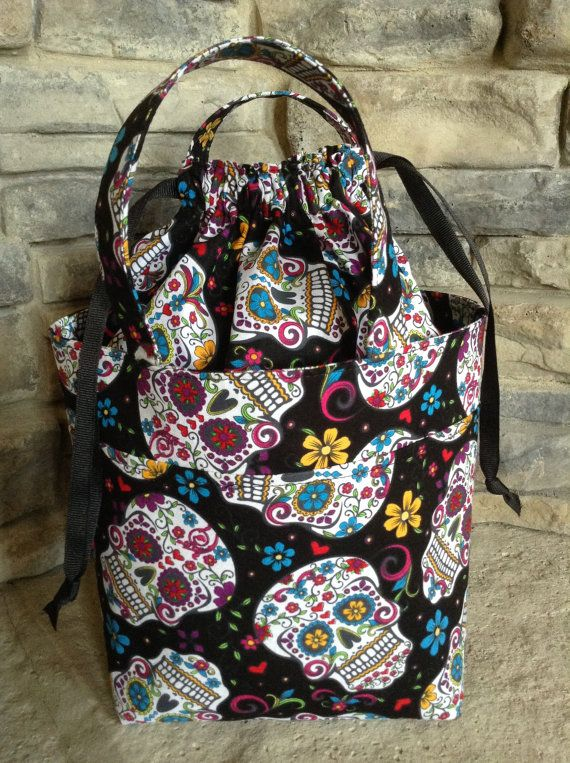 Project Tote With Handle and Drawstring by VictoriaHouseFibers