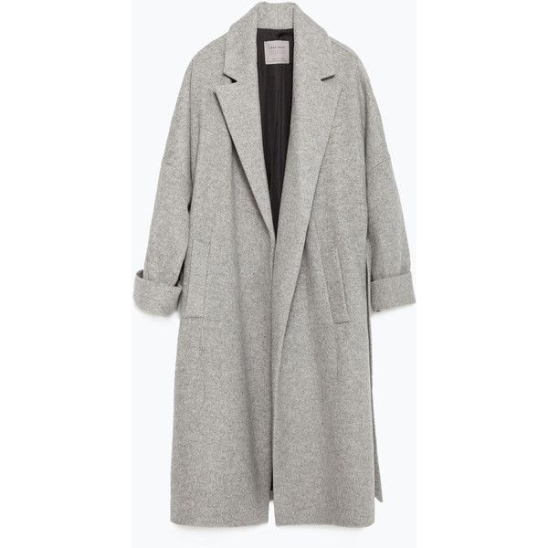d4d1e8cd Zara Wool Coat ($100) ❤ liked on Polyvore featuring outerwear, coats,  jackets, coats & jackets, grey, zara coat, grey coat, gray coat, woolen coat  and wool ...