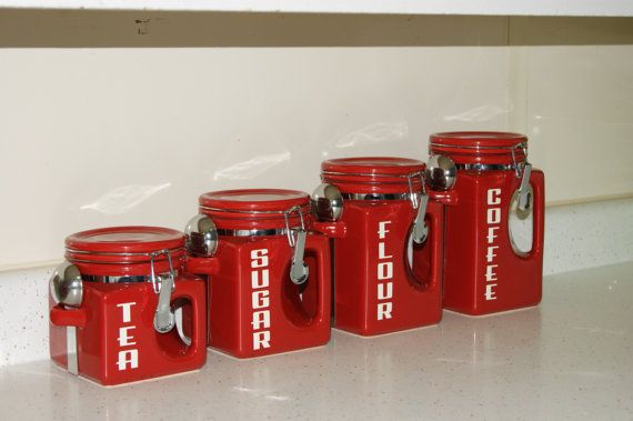 canisters | Kitchen canister sets, Red kitchen canisters ...