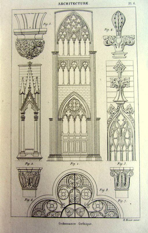 1852 Ancient Gothic Ornaments Decoration Print Antique Vintage Architecture Designs Engraving Original Art Decorations Style Pattern Plate Via Etsy Shop