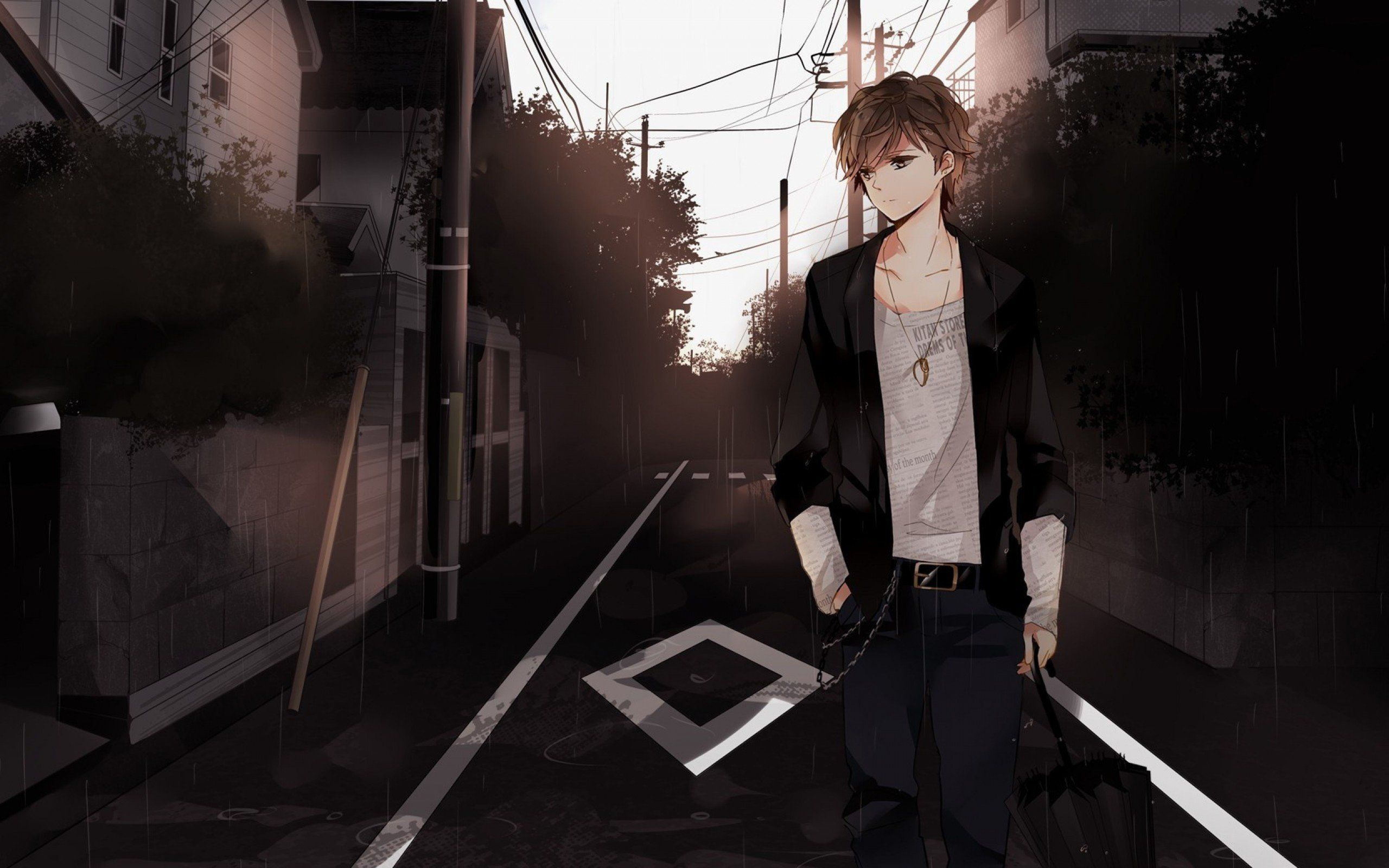 Anime Boy Brown Hair Brown Eyes Walk Street In 2020 Emo Wallpaper Anime Brown Hair Anime Boy