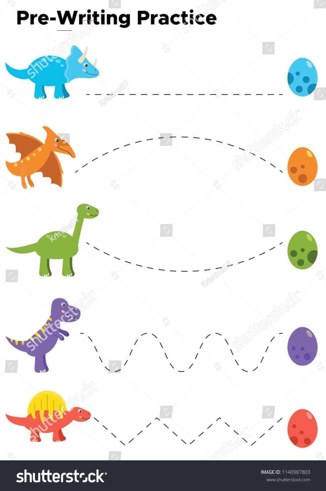 Writing Practice Preschool Kids Trace Line Stockvector
