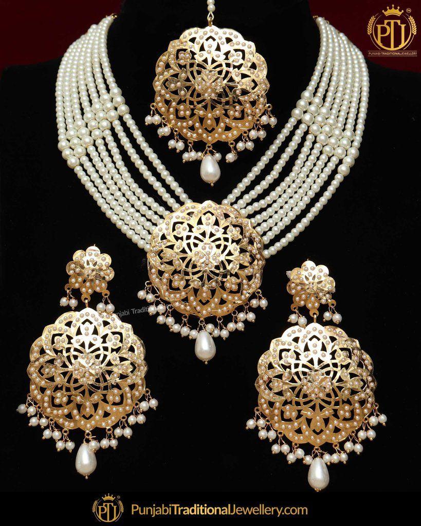 Gold Finished Jadau Pearl Necklace Set Punjabi
