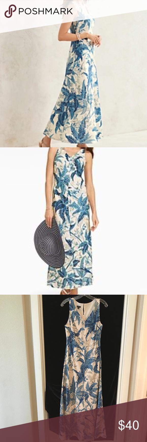 Talbots Tropical Fern Toile Maxi Dress Blue 8 Maxi Dress Blue Maxi Dress Dresses [ 1740 x 580 Pixel ]
