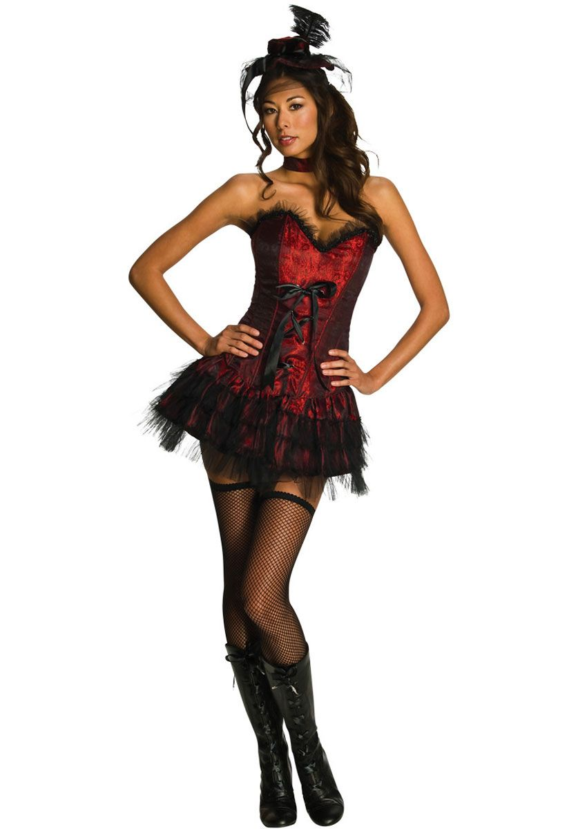 Can Can Dancer Saloon Girl Western Fancy Dress Halloween Adult Costume 2 COLORS