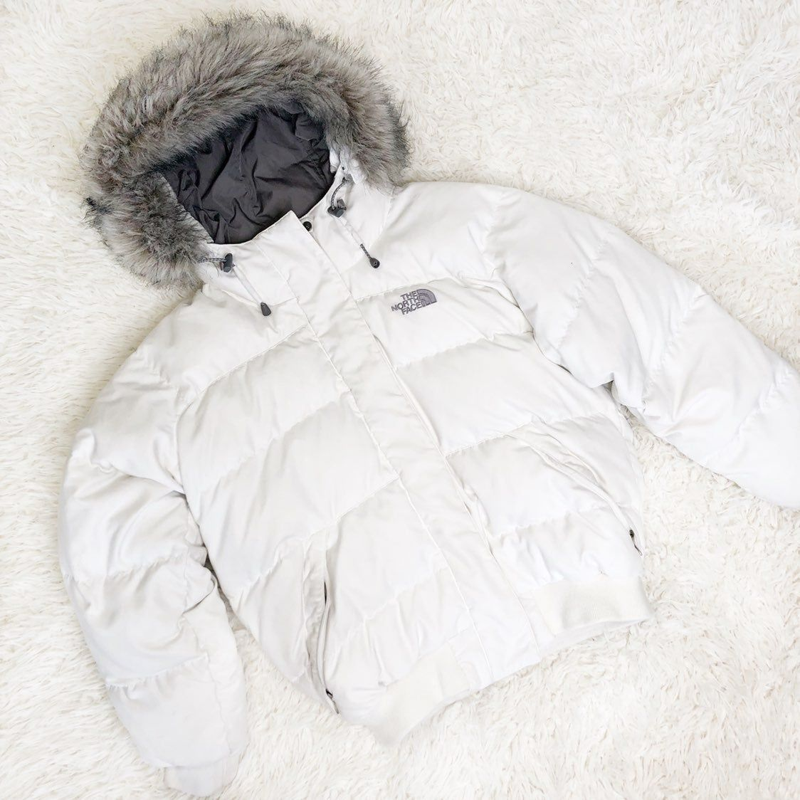 White North Face Puffer Goose Down Jacket M Fur Hood The North Face Jackets North Face Puffer [ 1124 x 1124 Pixel ]