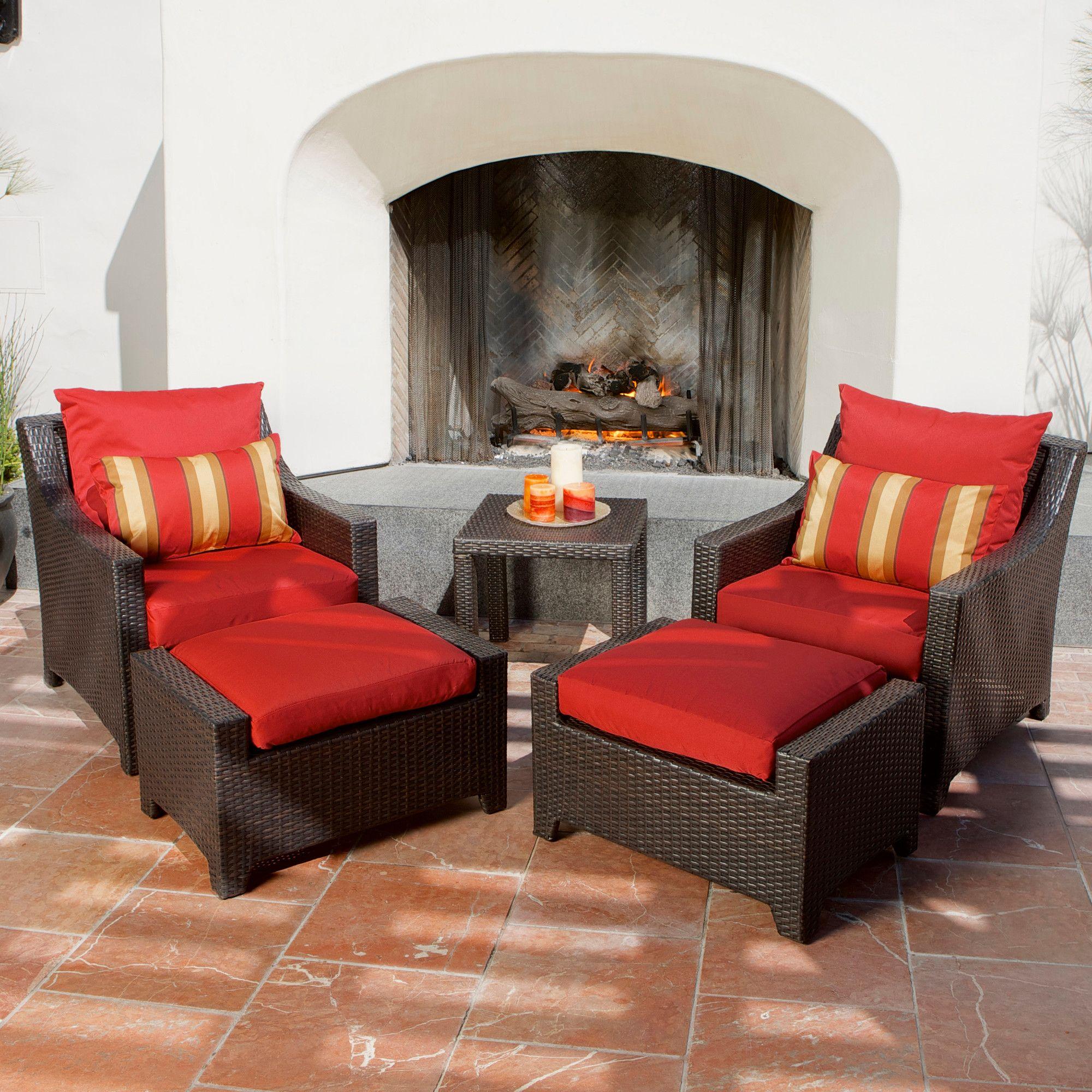 Northridge 5 Piece Conversation Set With Cushions Chair Ottoman Set Chair Ottoman Outdoor Furniture Sets