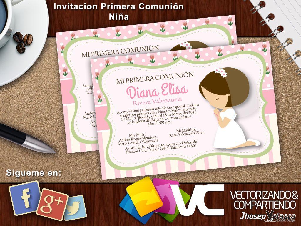 invitaciones de primera comunion de nina 2015