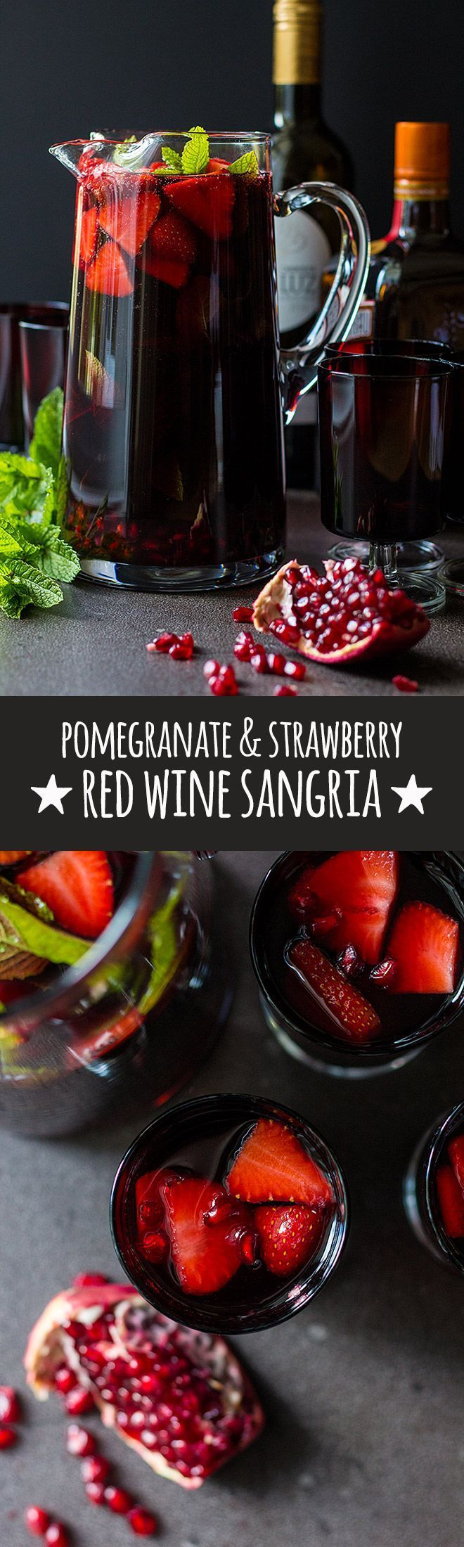 A sweetly refreshing chilled red wine sangria with pomegranate, sliced strawberries and lots of fresh mint.  via /quitegoodfood/